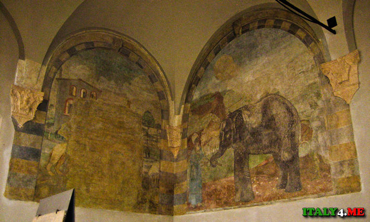 Фреска с изображением слона в замке Сфорца в Милане