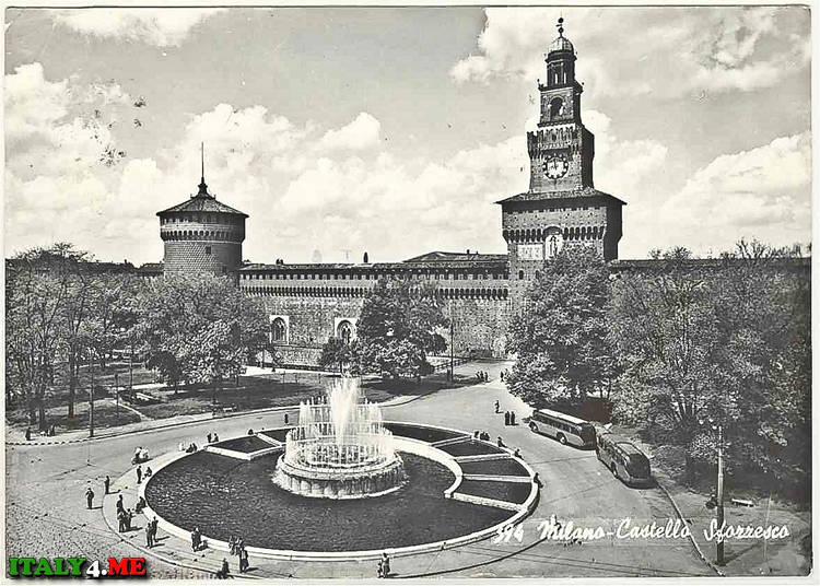 Милан фото 1958 года - башня замка Сastello Sforzesco