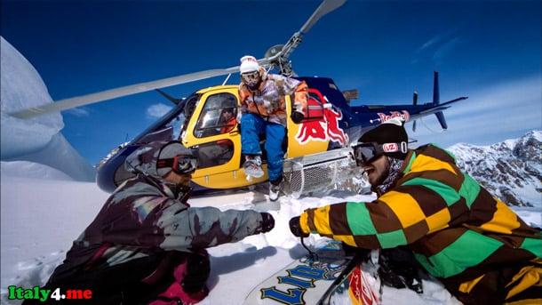 Италия горы отдых сноуборд вертолет