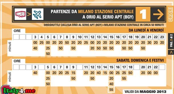 расписание автобус Бергамо Милан