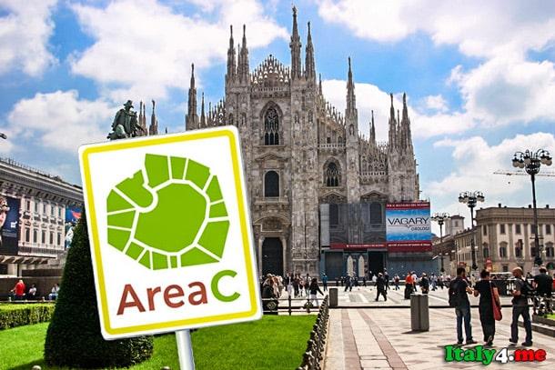 Area C у собора Дуомо в Милане