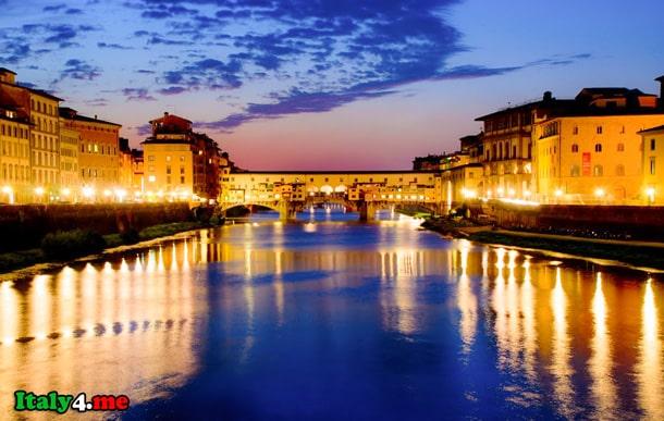 мост во Флоренции ночью