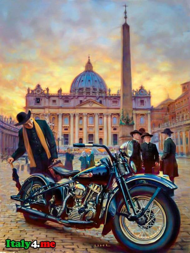 мотоцикл папы римского на фоне собора Святого Петра в Ватикане