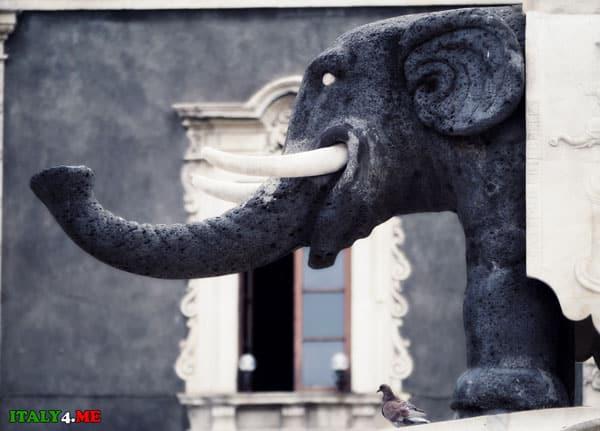 фонтан слон черного цвета