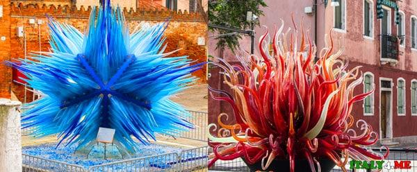 Выставка муранского стекла на острове Мурано в Венеции