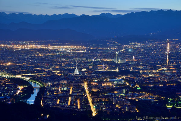 Панорама Турина вид на реку По