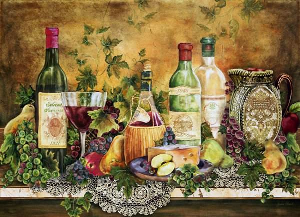 Акварель с лучшими винами Тосканы