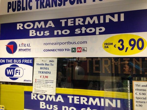 Чампино билеты до Термини общественным транспортом