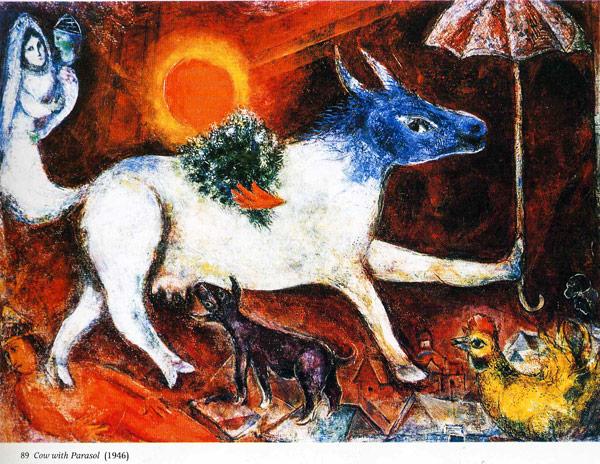 Корова с зонтиком 1946 год Марк Шагал