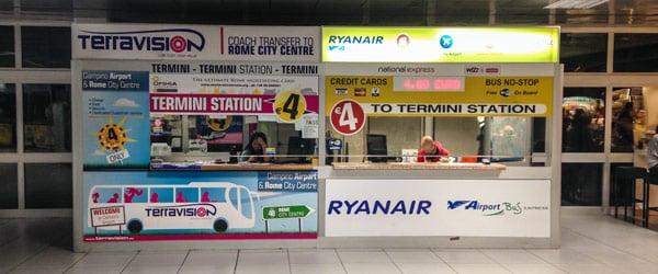 Офис автобусной компании Terrivision в аэропорту Чампино