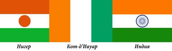 Кот-д'Ивуар Индия и Нигер флаги