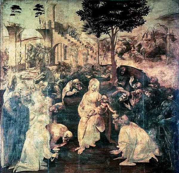 картина Поклонение волхвов Леонардо да Винчи
