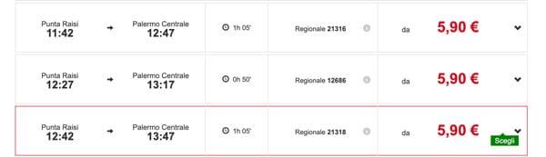 Расписание поездов из аэропорта в центр Палермо