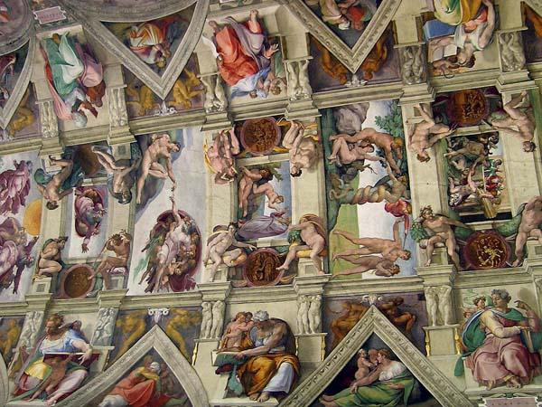 Сикстинская капелла в Ватикане - Фрагмент потолка