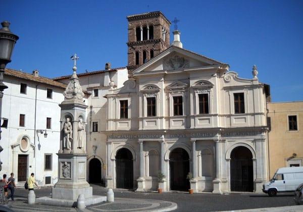 Остров Тиберина в Риме - Базилика Святого Варфоломея и обелиск