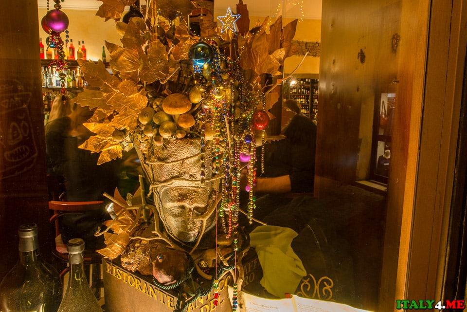 витрина ресторана район Трастевере Рим