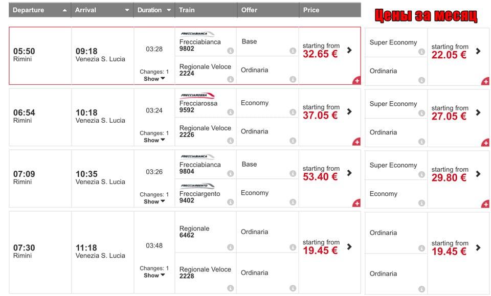 расписание поездов из Римини в Венецию и стоимость билетов