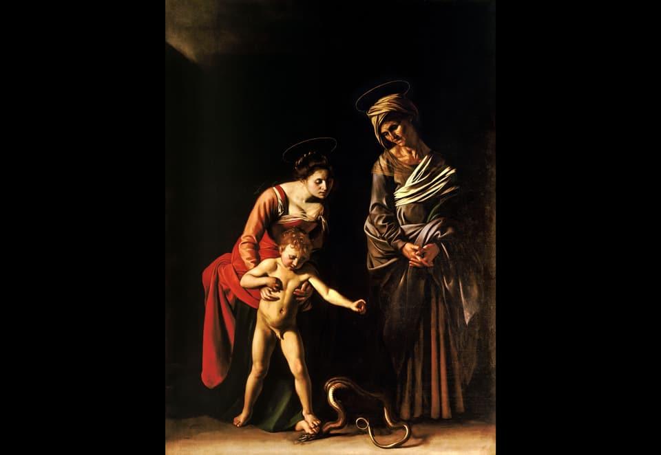 Мадонна и младенец со святой Анной и змеей картина Караваджо в римской галерее Боргезе