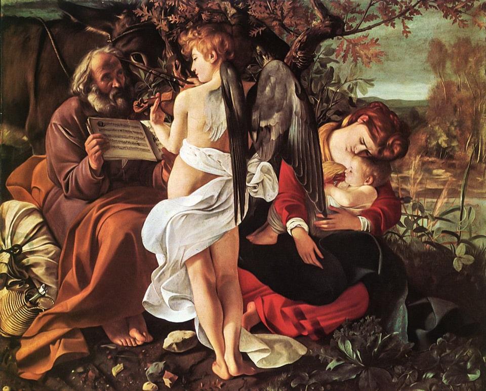 Отдых на пути в Египет картина Караваджо в Палаццо Дориа Памфили в Риме