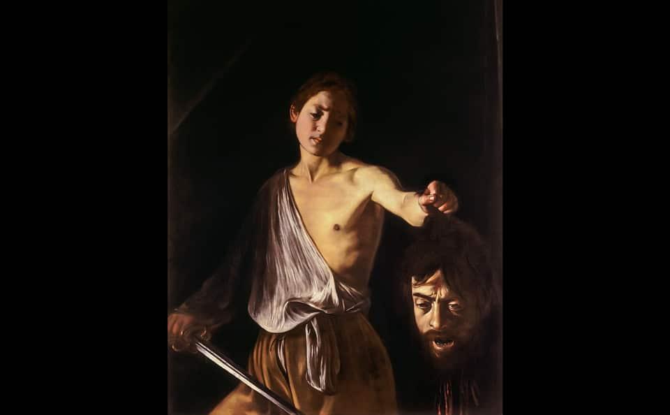 Давид с головой Голиафа картина Караваджо галерея Боргезе в Риме