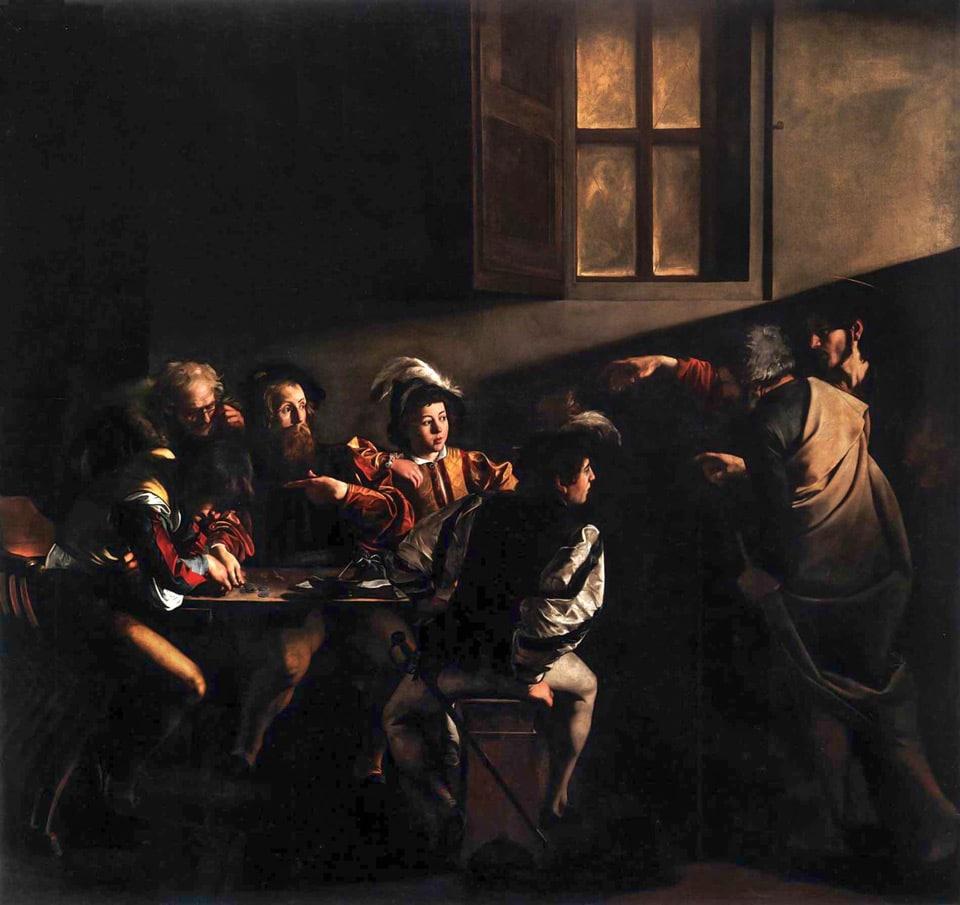 Призвание Апостола Матфея картина Караваджо в церкви Сан-Луиджи-дей-Франчези в Риме