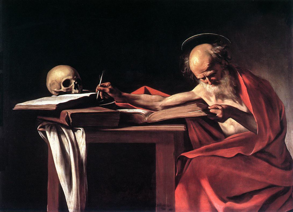 Святой Иероним в размышлении картина Караваджо в римской галерее Боргезе