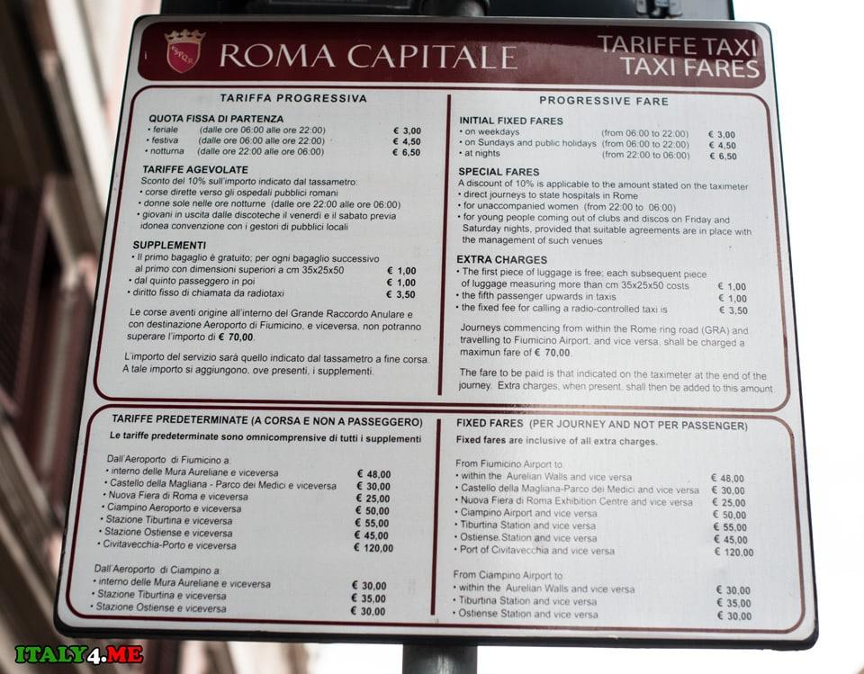 taxi-v-Rime-ceny