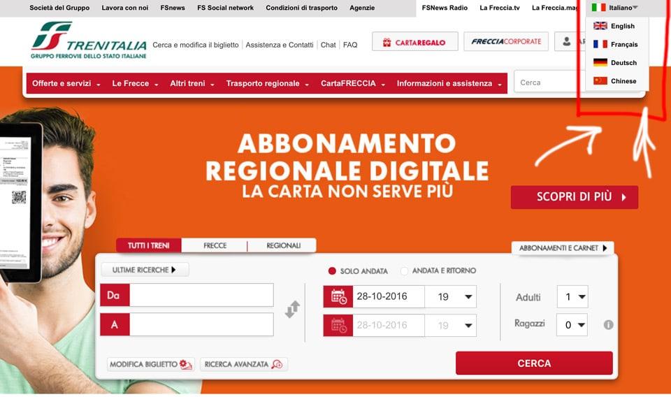 Официальный сайт Trenitalia.com