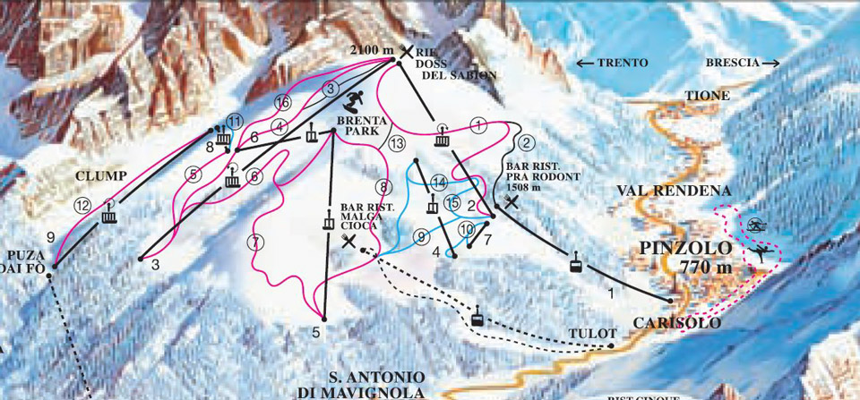 Пинзоло схема горнолыжных трасс