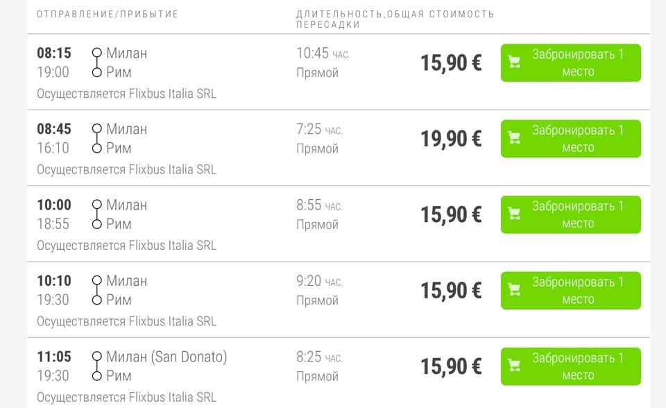 Расписание дневных автобусов из Милана в Рим, цены билетов