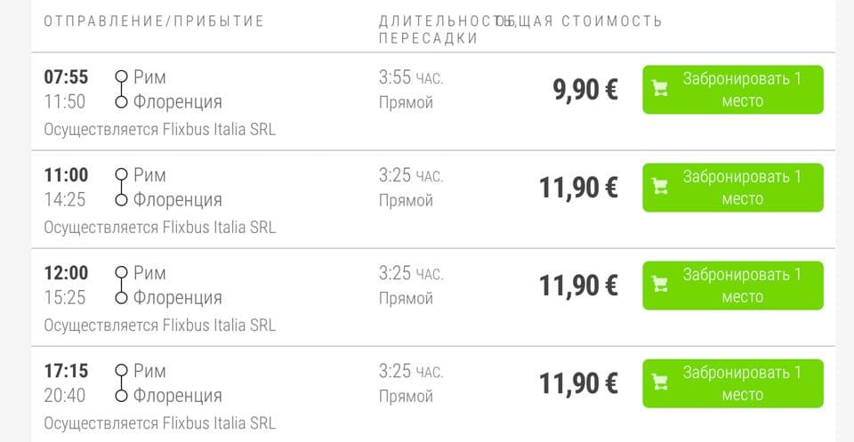 Расписание автобусов из Рима во Флоренцию