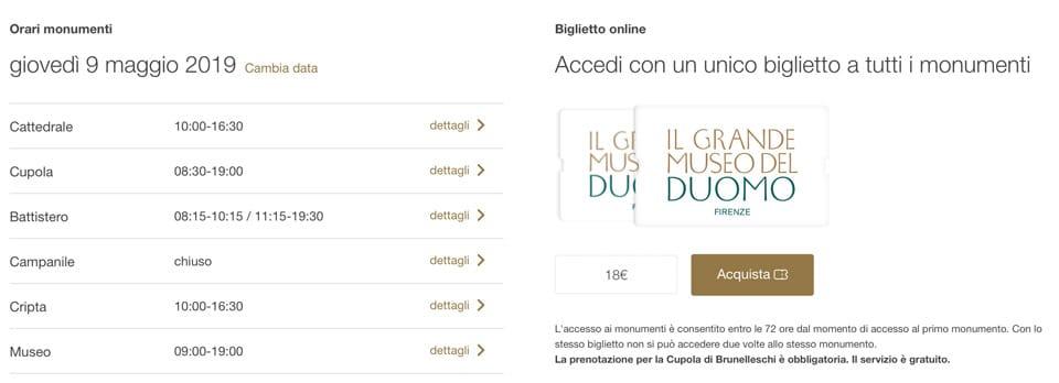 Время работы и стоимость билетов собор Дуомо во Флоренции