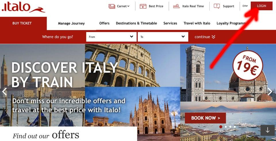 Официальный сайт Italotreno.it