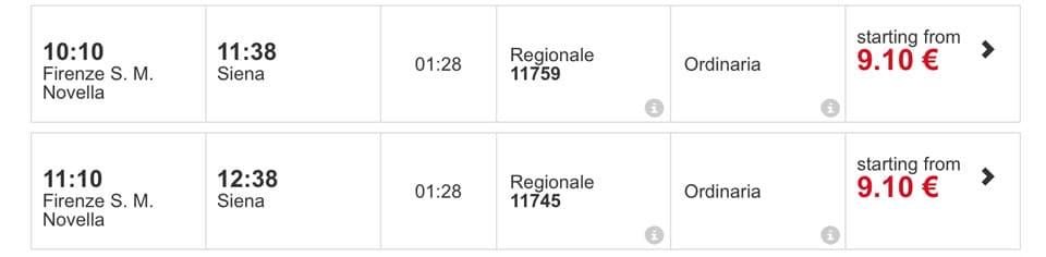 Флоренция-Сиена расписание поездов и цены билетов