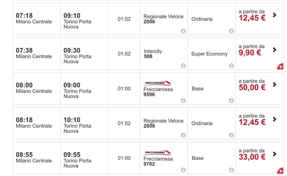 Расписание поездов Трениталия из Милана в Турин стоимость билетов
