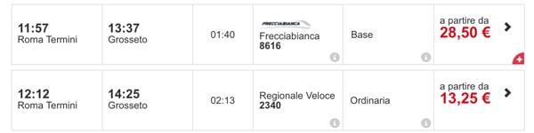 Расписание поездов из Рима в Гроссето, стоимость билетов