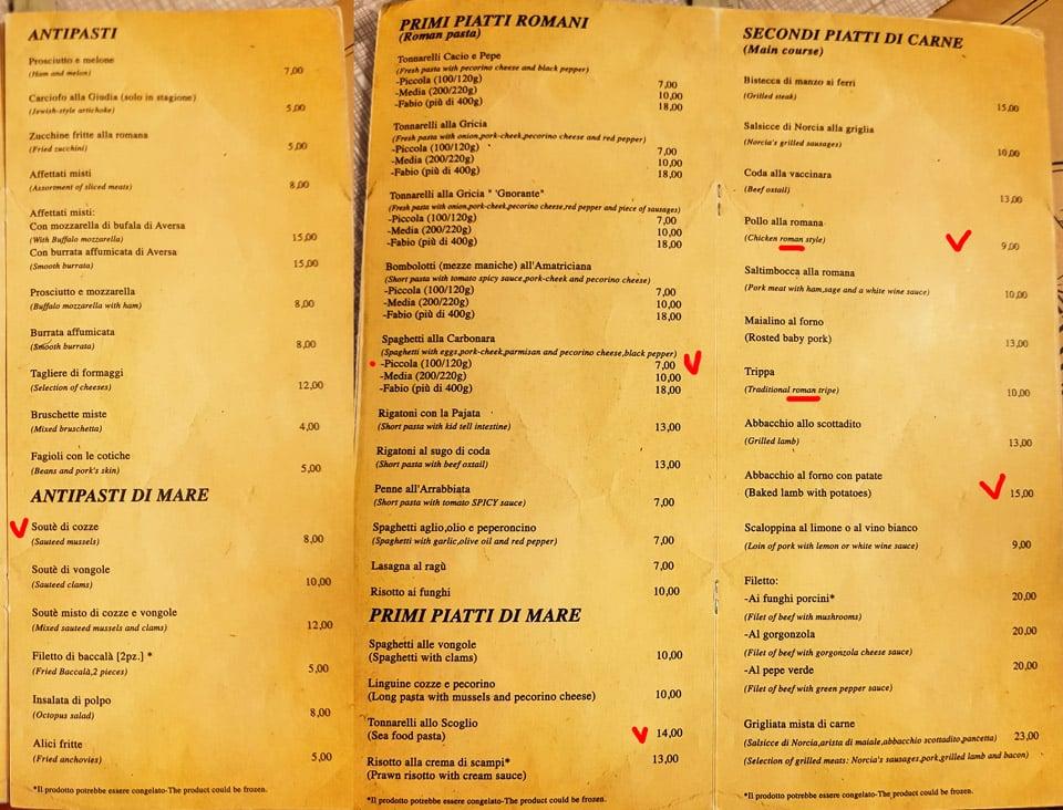Меню ресторана Impiccetta в Риме первые и вторые блюда