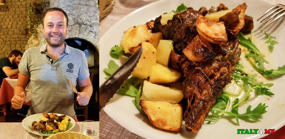 Артур Якуцевич на обеде в Риме в ресторане Impiccetta, abbacchio al forno con patate