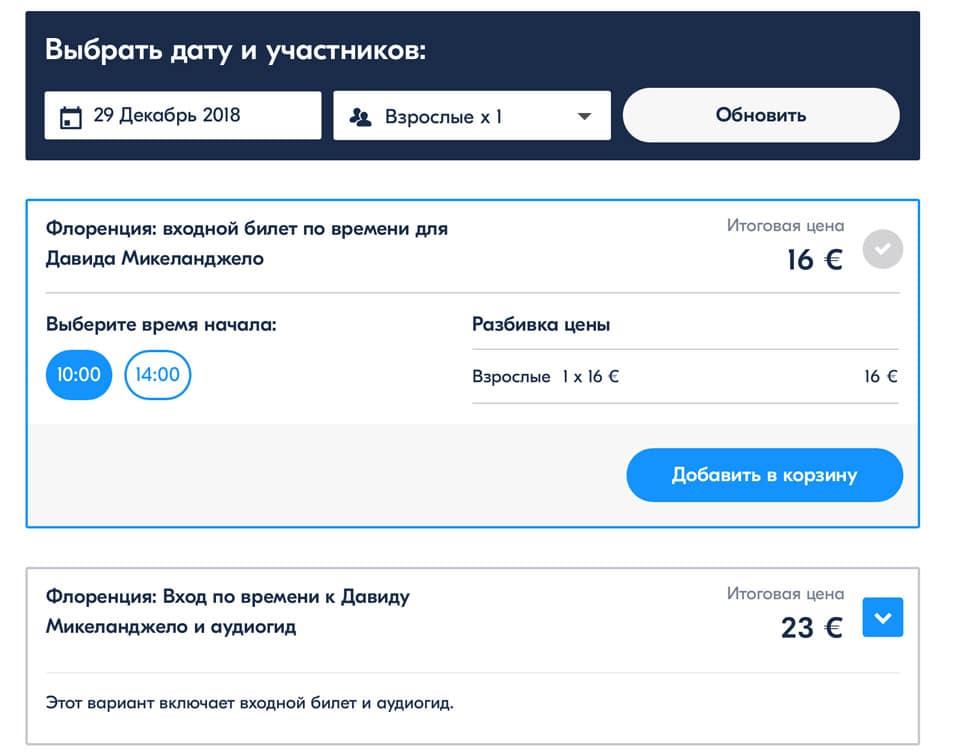 Билет в галерею Академии с аудиогидом на русском языке стоит 23 евро