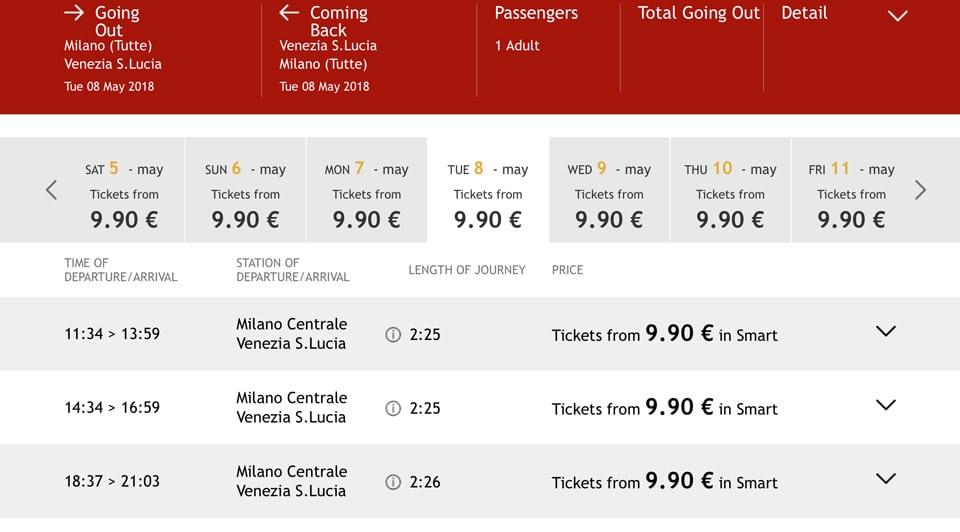 Расписание скоростных поездов ItaloTreno из Милана в Венецию