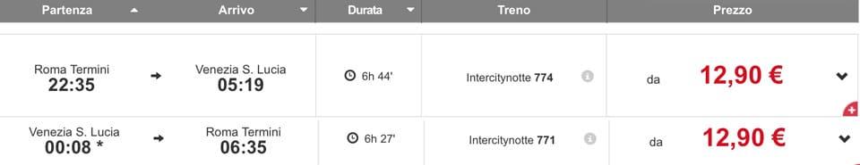 Расписание и стоимость ночных поездов из Рима в Венецию