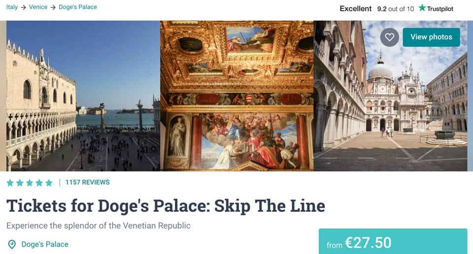 Билеты в Дворец Дожей в Венеции