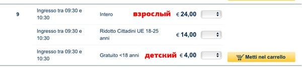 Цены на билеты в галерею Уффици
