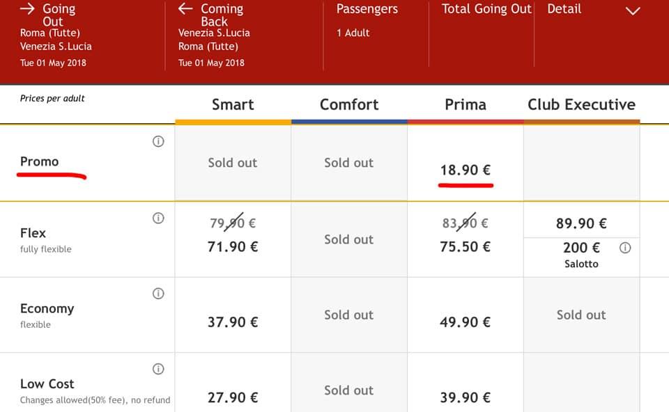 Стоимость билетов скоростных поездов ItaloTreno из Рима в Венецию