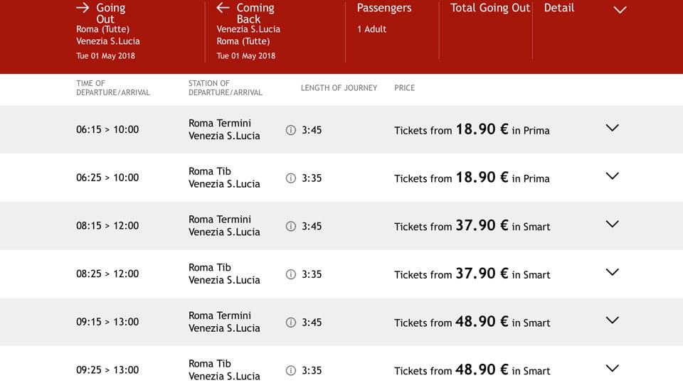 Расписание скоростных поездов ItaloTreno из Рима в Венецию