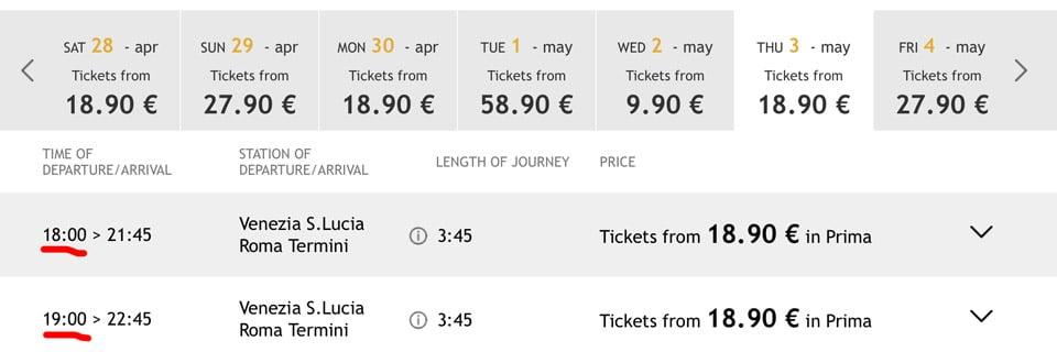 Расписание поездов ItaloTreno из Венеции в Рим