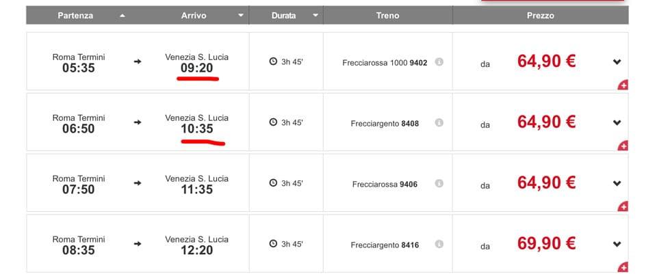 Расписание скоростных поездов Trenitalia из Рима в Венецию