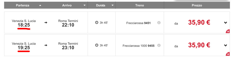 Расписание поездов Trenitalia из Венеции в Рим
