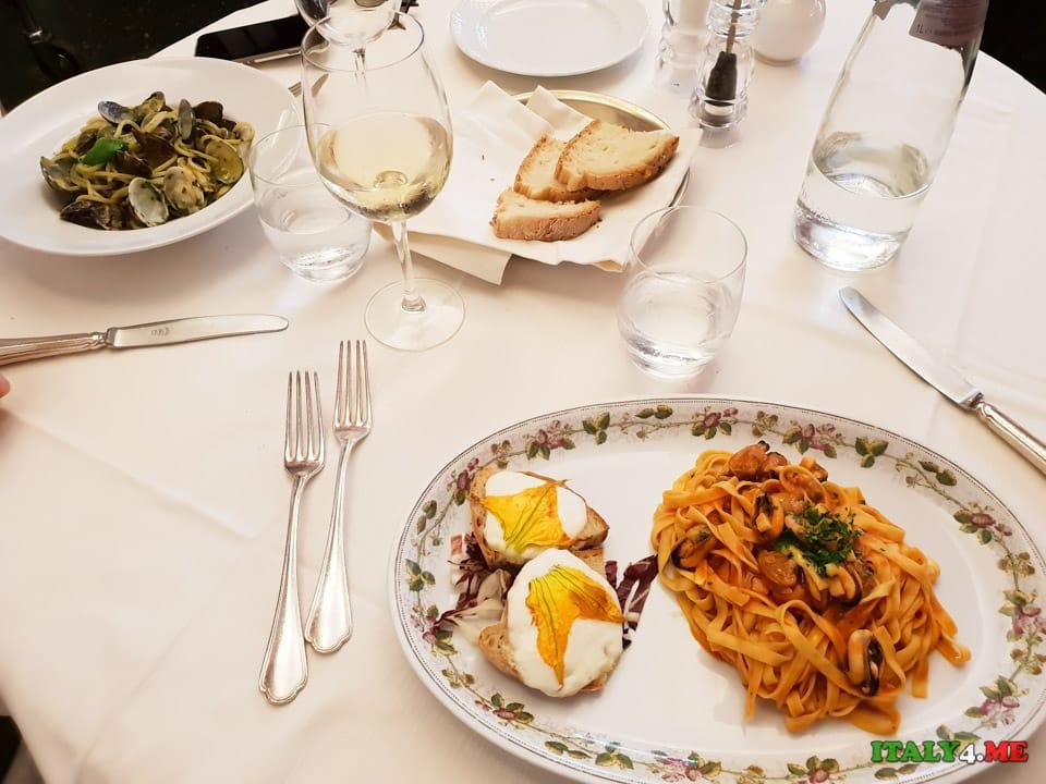 Обед за 30 евро в Риме 2 пасты, вино, вода