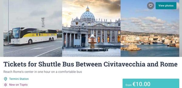 Стоимость билета на автобус из Рима в порт Чивитавеккья 10 евро